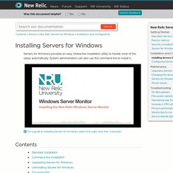 Installing Servers for Windows