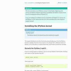 Installing the IPython kernel — IPython 7.7.0 documentation