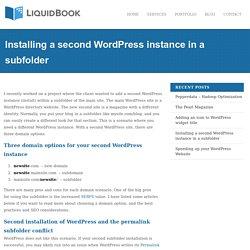 Installing a second WordPress instance in a subfolder - LiquidBook - WordPress Developers