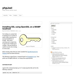 Installing SSL using OpenSSL on a WAMP localhost