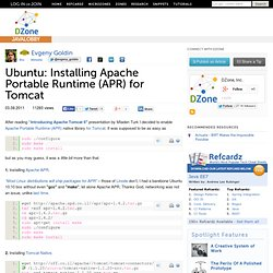 Ubuntu: Installing Apache Portable Runtime (APR) for Tomcat