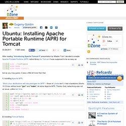 Ubuntu: Installing Apache Portable Runtime (APR) for Tomcat