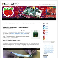 Installing The Raspberry Pi Camera Module