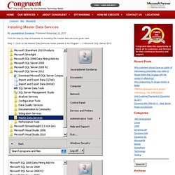 Installing Master Data Services by Congruent