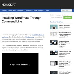 Installing WordPress Through Command Line