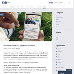 Instant Articles Now Open to All Publishers