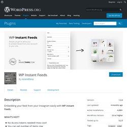 WP Instant Feeds – WordPress plugin