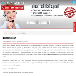 Get an instant Hotmail tech support