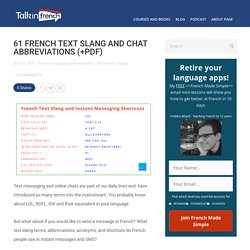 61 French Text Slang and Instant Messaging Shortcuts
