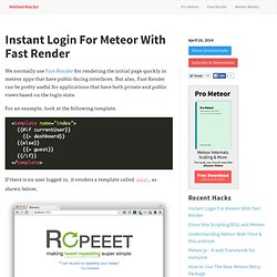 Instant Login For Meteor With Fast Render