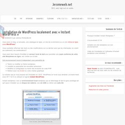 Instant Wordpress : Installer wordpress en local