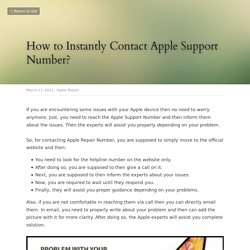How to Instantly Contact Apple Support Number? - Apple Repair
