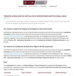 TRÁMITES A REALIZAR VÍA VIRTUAL EN EL REPOSITORIO INSTITUCIONAL UNSA – Vicerectorado de Investigación de la Universidad Nacional de San Agustín de Arequipa