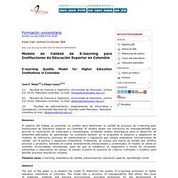 Modelo de Calidad de E-learning para Instituciones de Educación Superior en Colombia