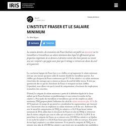 L'Institut Fraser et le salaire minimum