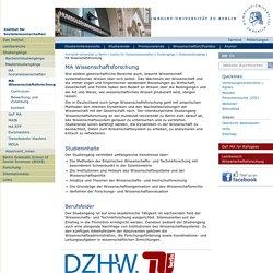MA Wissenschaftsforschung — Institut für Sozialwissenschaften