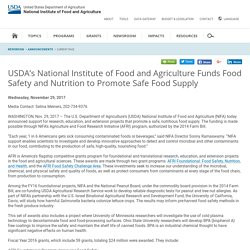 NIFA USDA 29/11/17 USDA's National Institute of Food and Agriculture Funds Food Safety and Nutrition to Promote Safe Food Supply
