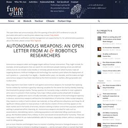 Open Letter Autonomous Weapons