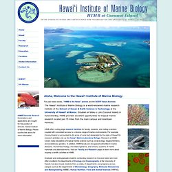Hawai'i Institute of Marine Biology | Welcome