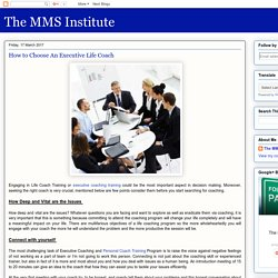 The MMS Institute: How to Choose An Executive Life Coach