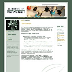 The Institute for EthnoMedicine: The Research
