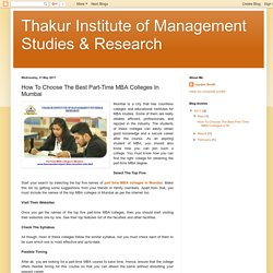 Thakur Institute of Management Studies & Research: How To Choose The Best Part-Time MBA Colleges In Mumbai