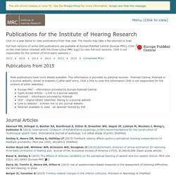 MRC Institute of Hearing Research: Publications