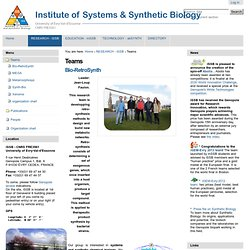 Teams — Institute of Systems & Synthetic Biology