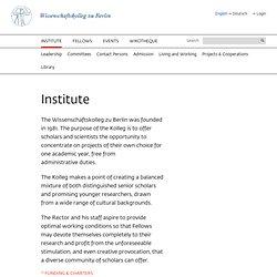 Institute - Wissenschaftskolleg zu Berlin