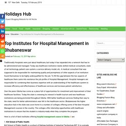 Top Institutes for Hospital Management in Bhubaneswar