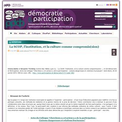 La SCOP, l'institution, et la culture comme compromis(sion)