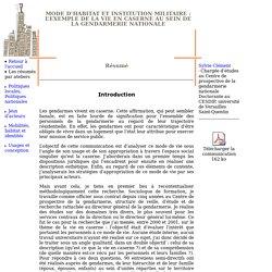 Mode d'habitat et institution militaire: l'exemple de la vie en caserne au sein de la gendarmerie nationale
