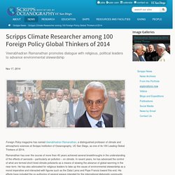 Scripps Climate Researcher among 100 Foreign Policy Global Thinkers of 2014
