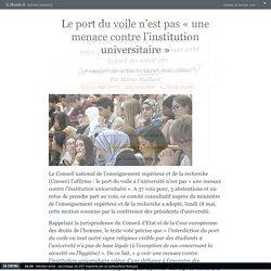 Le port du voile n'est pas «une menace contre l'institution universitaire»