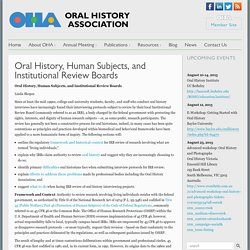 Oral History, Human Subjects, and Institutional Review Boards