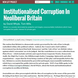 Institutionalised Corruption in Neoliberal Britain