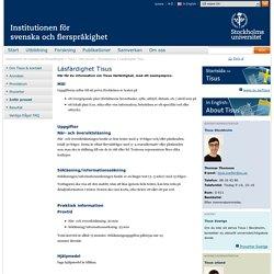 Läsfärdighet Tisus - Institutionen för svenska och flerspråkighet