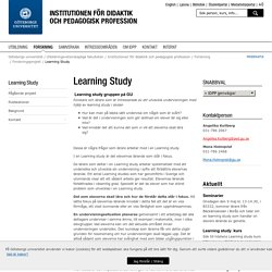 Learning Study - Institutionen för didaktik och pedagogisk profession, Göteborgs universitet