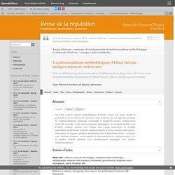 L'institutionnalisme méthodologique d'Elinor Ostrom: quelques enjeux et controverses