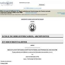 Mise en place et diffusion du dépôt institutionnel électronique de l'école normale supérieure Abidjan (ENS) sous PMB - Adou Jean-Constant ATTA