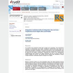 Intégration institutionnelle et intégration des services: l'expérience de la région des Laurentides