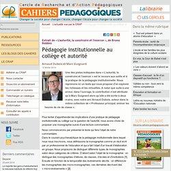 Pédagogie institutionnelle au collège et autorité