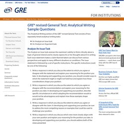 For Institutions: Sample Questions Analytical Writing