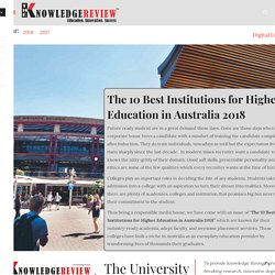 The 10 Best Institutions for Higher Education in Australia 2018 May2018