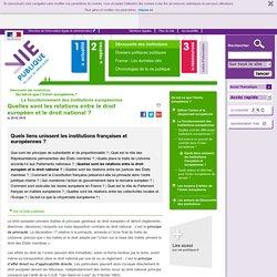 Quelles sont les relations entre le droit européen et le droit national ? - Quels liens unissent les institutions françaises et européennes ? Découverte des institutions