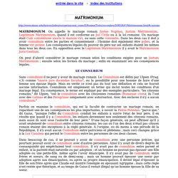 Institutions romaines : matrimonium, connubium, nuptiae