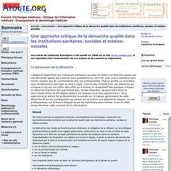 Une approche critique de la démarche qualité dans les institutions sanitaires, sociales et médico-sociales