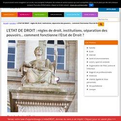 L'ETAT DE DROIT : règles de droit, institutions, séparation des pouvoirs… comment fonctionne l'Etat de Droit ?