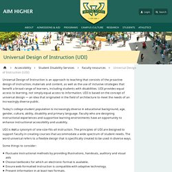 Universal Design of Instruction (UDI) - Accessibilty - Wayne State University