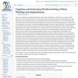 Cognition and Instruction/Problem Solving, Critical Thinking and Argumentation